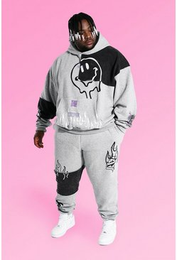 Grey marl Plus Size Graffiti Patchwork Tracksuit