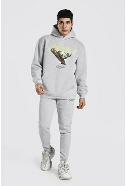 Grey marl Oversized Eagle Print Hooded Tracksuit