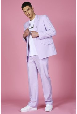 Lilac Relaxed Plain Suit Pants
