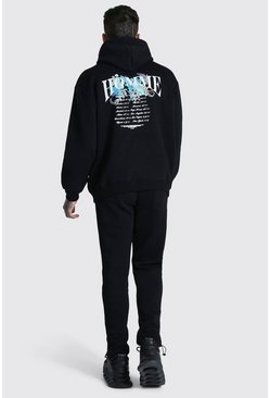 Black Oversized Man Tracksuit With Toggle Cuff