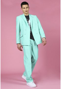 Mint Relaxed Plain Double Breasted Suit Jacket