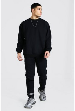 Black Oversized Official Sweater Toggle Tracksuit