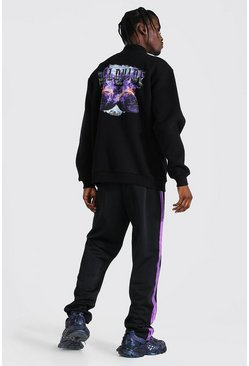 Oversized Graphic Funnel Neck & Tricot Jogger, Black