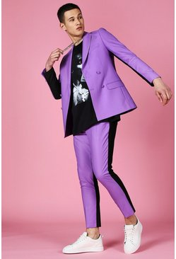 Purple Skinny Spliced Double Breasted Suit Jacket
