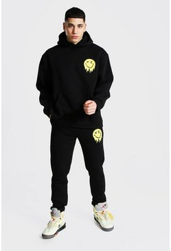 Black Oversized Drip Face Hooded Toggle Tracksuit