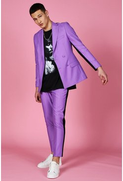 Purple Skinny Plain Cropped Suit Pants