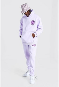 Lilac Oversized Drip Face Hooded Toggle Tracksuit