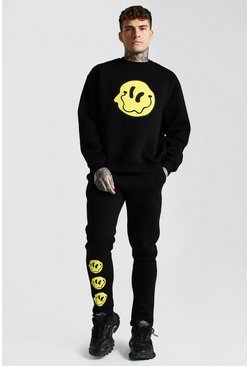 Black Oversized Drip Face Sweater Toggle Tracksuit