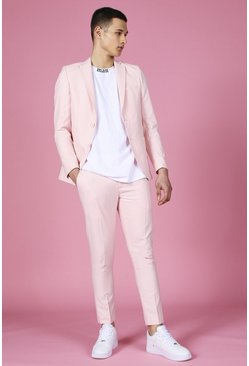 Light pink Skinny Plain Cropped Suit Pants