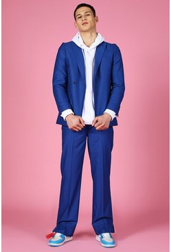 Blue Relaxed Double Breasted Tab Suit Jacket
