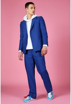 Blue Relaxed Split Hem Suit Trouser