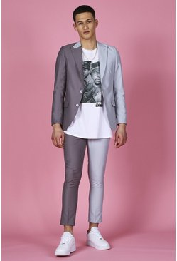 Grey Skinny Spliced Double Breasted Suit Jacket