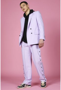 Lilac Relaxed Plain Popper Suit Trouser