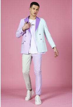 Skinny Colour Block Suit