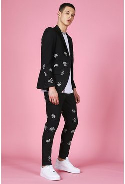 Skinny Bandana Embroidered Suit