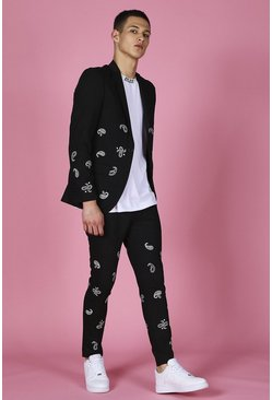 Black Skinny Bandana Embroidered Suit Pants