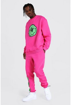Pink Oversized Drip Face Sweater Toggle Tracksuit