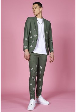 Sage Skinny Bandana Embroidered Suit Pants