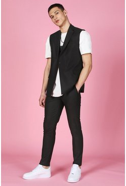Black Skinny Plain Suit Pants