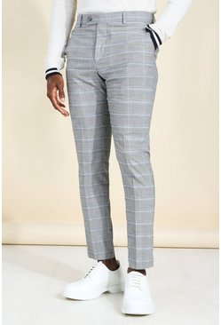 Grey Skinny Windowpane Check Smart Pants