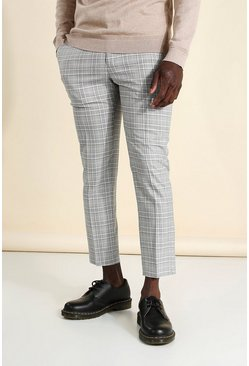 Blue Skinny Check Cropped Smart Trouser