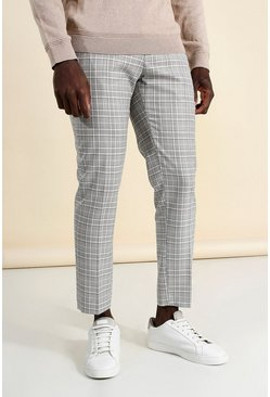 Pink Skinny Check Cropped Smart Trouser