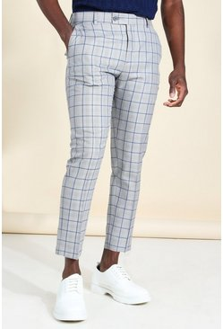 Grey Skinny Windowpane Check Cropped Smart Trouser