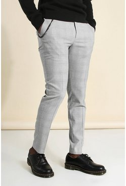 Grey Skinny Check Chain Smart Pants