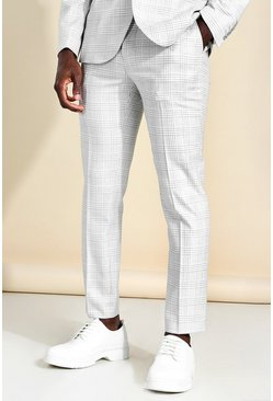 Skinny Check Suit Trouser, Light grey