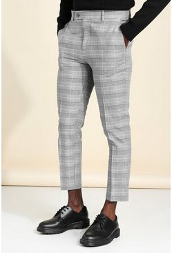 Grey Skinny Check Cropped Smart Trouser