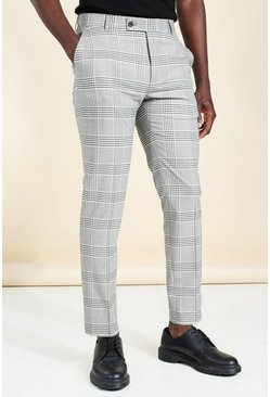 Grey Skinny Windowpane Check Smart Trouser