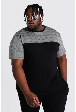 Black Plus Size Man Roman Colour Block T-shirt