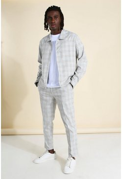 Grey Skinny Check Harrington Jacket and Trousers