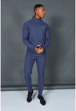 Dusty blue  Man Active Muscle Fit 1/2 Zip Tracksuit