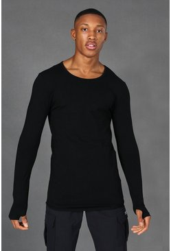 Black Man Active Muscle Fit L/s Scoop Neck Top