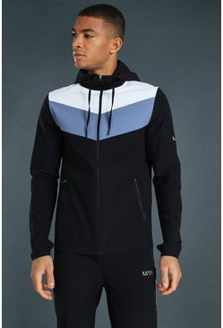 Black Man Active Textured Colour Block Windbreaker