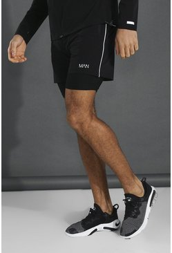 Black Man Active Lightweight 2-in-1 Plain Short