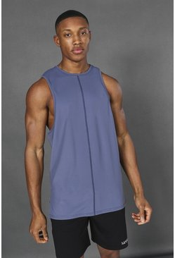 Dusty blue Man Active Yoga Side Split Tank Top