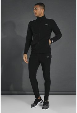Black Man Active Lightweight Funnel Neck Tracksuit