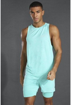 Mint Man Active Lightweight Marl Racer Tank