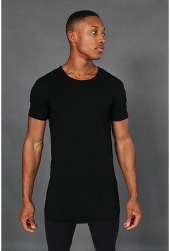 Black Man Active Muscle Fit Scoop Neck Longline Top