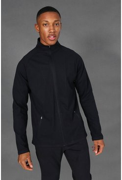 Black Man Active Zip Through Track Jacket