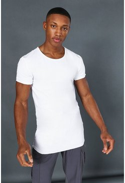 White Man Active Muscle Fit Scoop Neck Longline Top
