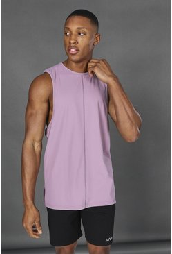 Soft pink Man Active Yoga Side Split Tank Top
