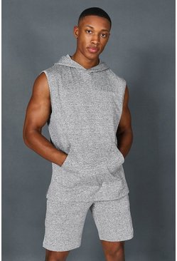 Grey Man Active Marl Yoga Sleeveless Hoodie