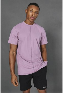 Soft pink Man Active Yoga Side Split T-shirt