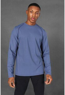 Dusty blue Man Active Yoga Long Sleeve Top
