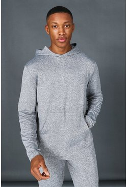 Grey Man Active Marl Yoga Over The Head Hoodie