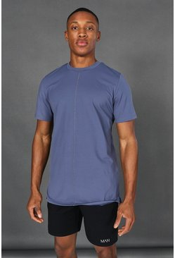 Dusty blue Man Active Yoga Side Split T-shirt