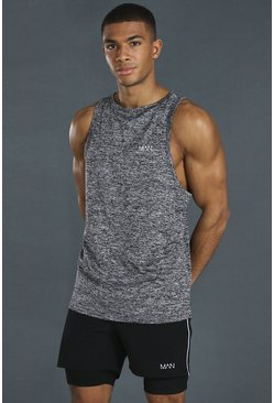 Black Man Active Lightweight Marl Racer Tank